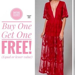 NWT Honey Punch Lace Romper Maxi Dress In Red